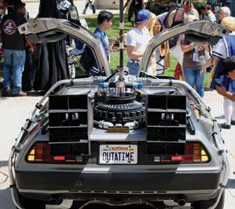 This car is apparently modeled after the DeLorean used in Back to the Future.