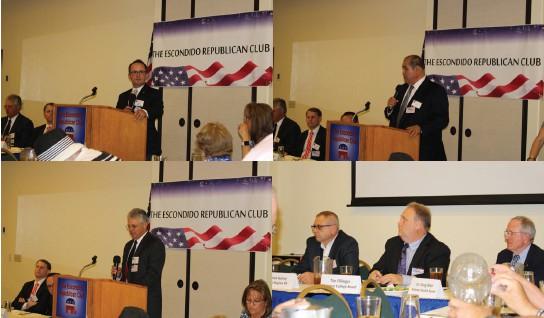 Upper, left, Dane White, Upper right, Joe Garcia, bottom left, Robroy Fawcett and bottom right, Mirek Gorny, Tom Fillinger and Dr. Doug Moir--all took part in Monday's TERC forum. See story.
