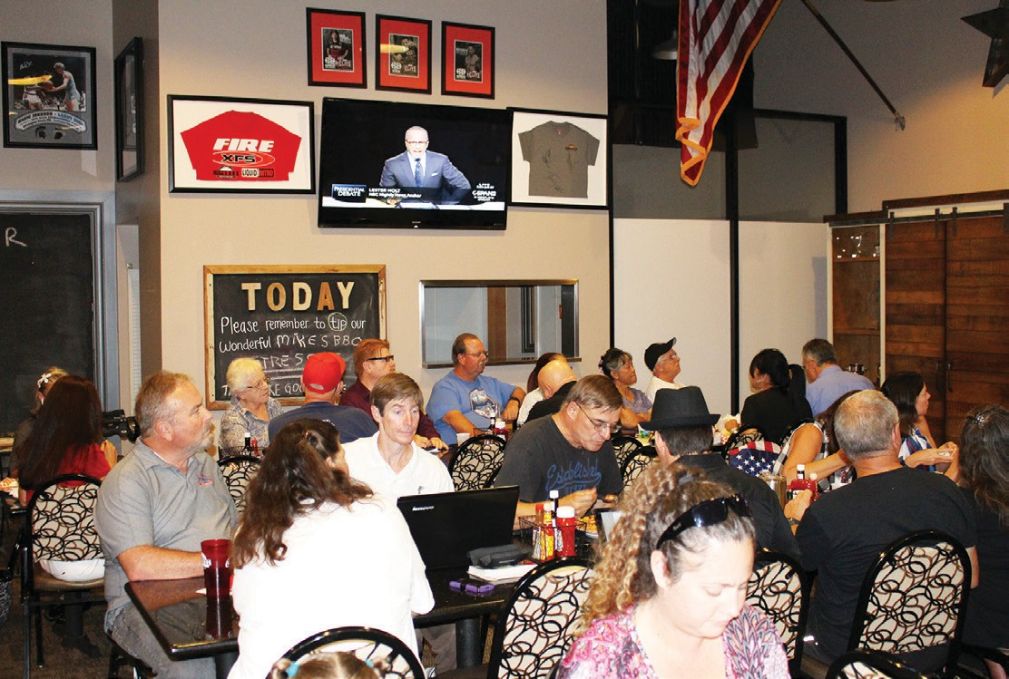 It was a capacity crowd Monday night at Mike's BBQ meeting room in Escondido, where the North County Conservatives gathered to watch the Great Debate.