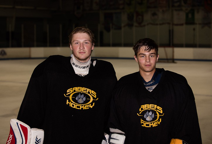The Sabers will be counting heavily on the goalie tandem of Adam Sandberg (left) and Matt Soldano.