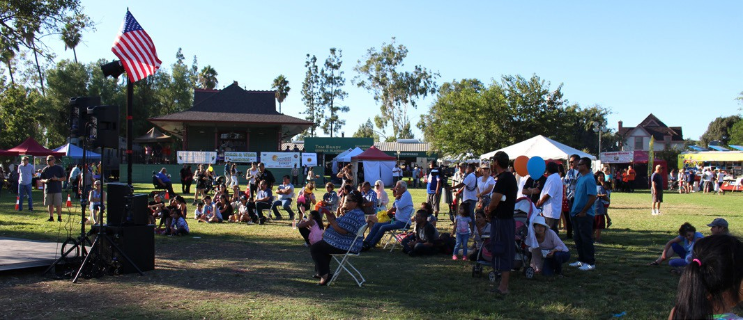left: Finding a shady spot for your lawn chair and enjoying the afternoon watching entertainment on stage is always a popular thing to do at the festival.
