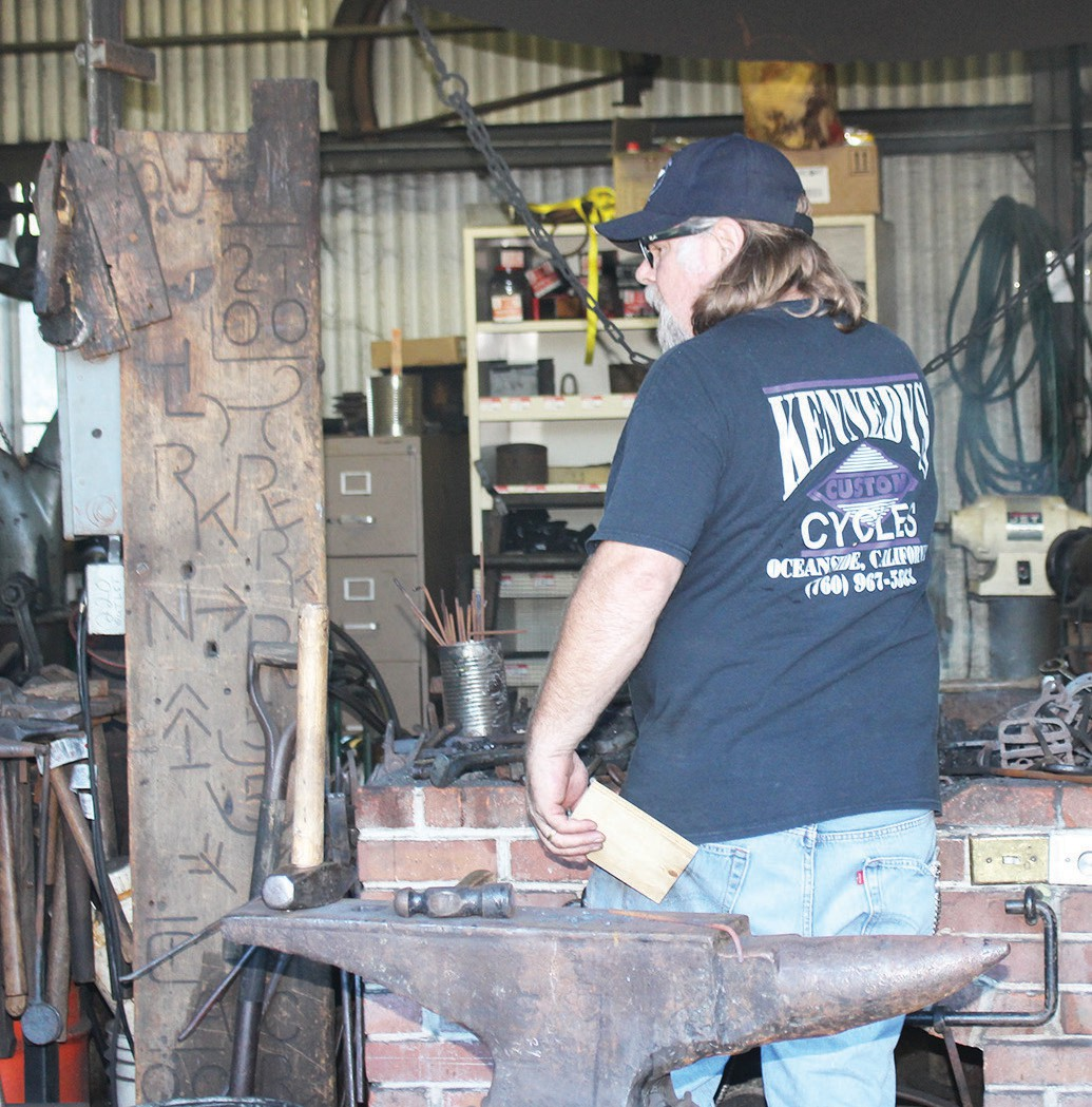 The blacksmith shop gave demonstrations all day Saturday.