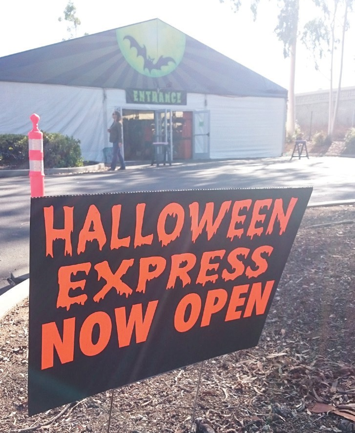 Halloween Express tent outside of Sears at the North County Mall. Photo by Anne S. Hall.