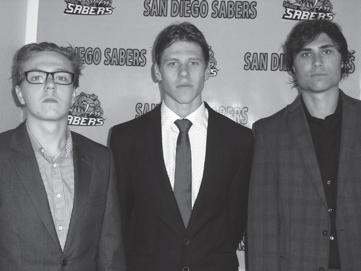 Defensemen Dominik Ficek and Martin Valicek (left and middle) and forward Greg Houle were highly instrumental in helping San Diego vanquish the visiting Storm.