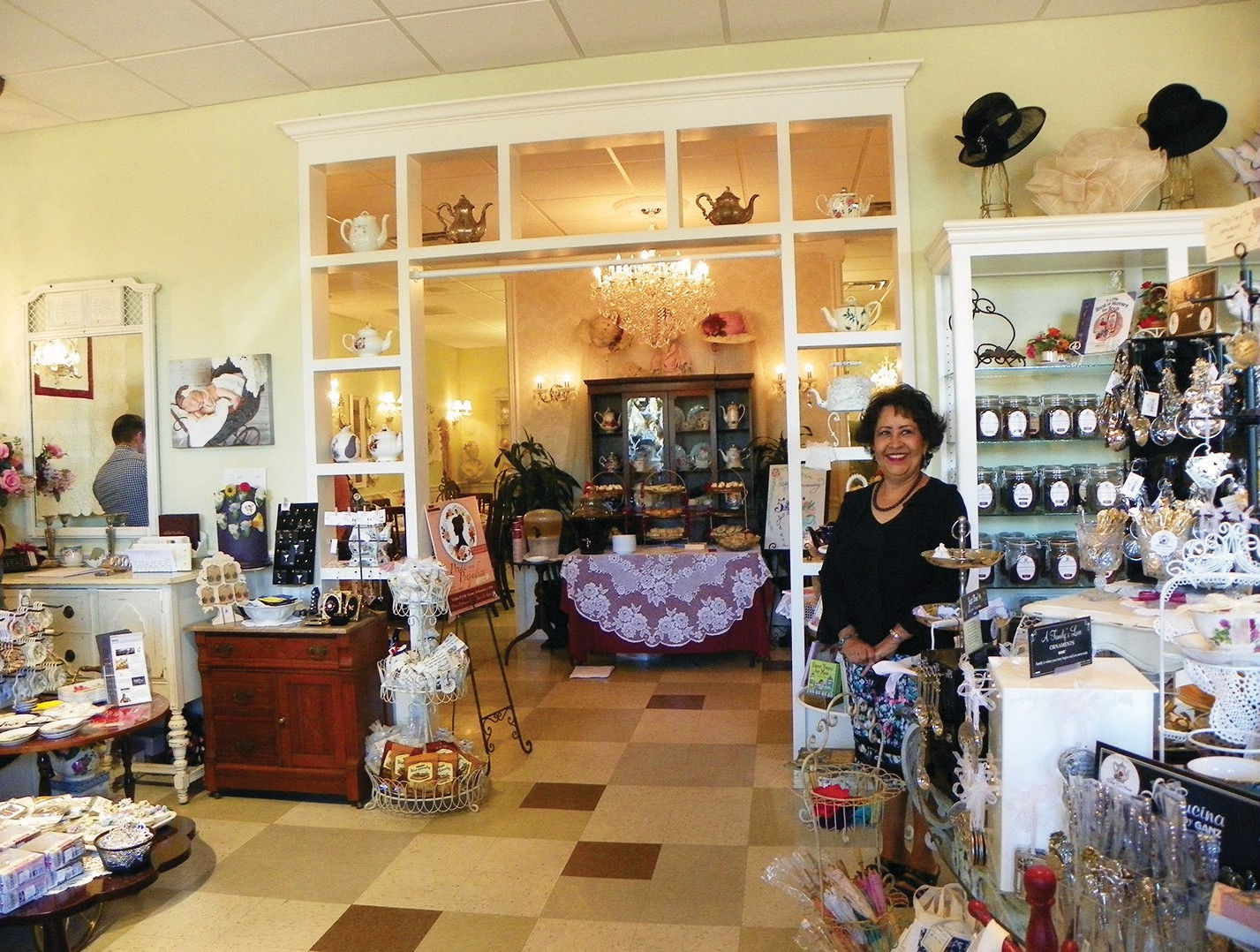 Grand Tea Room owner Louisa Magoon in the front lobby of the shop.