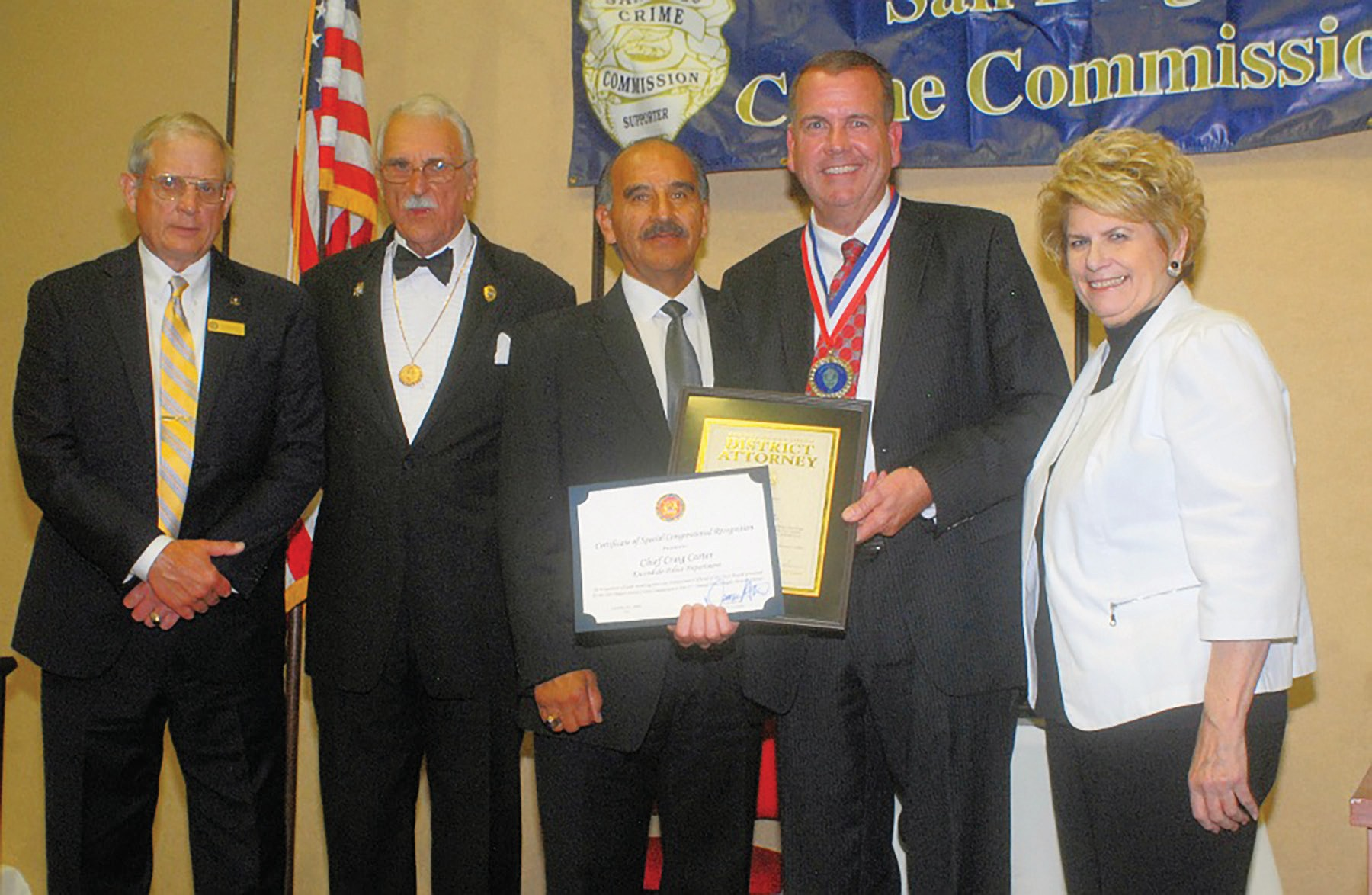 Chief Craig Cartner is shown receiving his recognition at the October 14 ceremony. Others, from left, include Wes Schermann, congressional Staffer for Duncan Hunter, Jim Hill, President of the San Diego County Crime Commission, Chula Vista Police Chief David Bejarano and District Attorney Bonnie Dumanis.