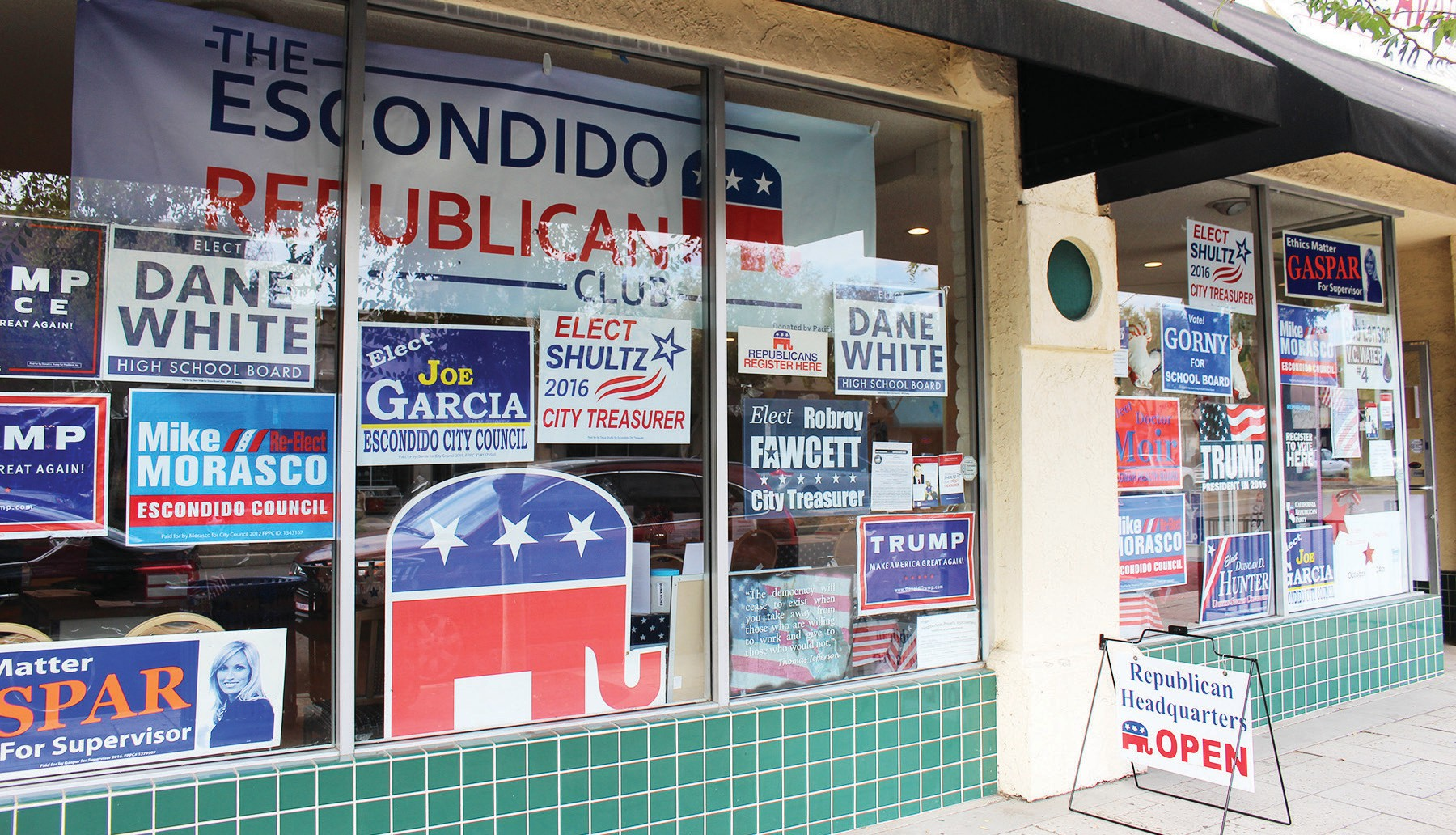 The storefront office of the Escondido Republican Party on 142 Grand Ave. (next door to Swami's restaurant.) The storefront window is festooned with various state and local candidate placards.