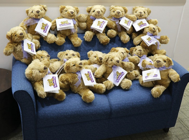 Some of the therapy Teddy bears that will be used to comfort victims of abuse.