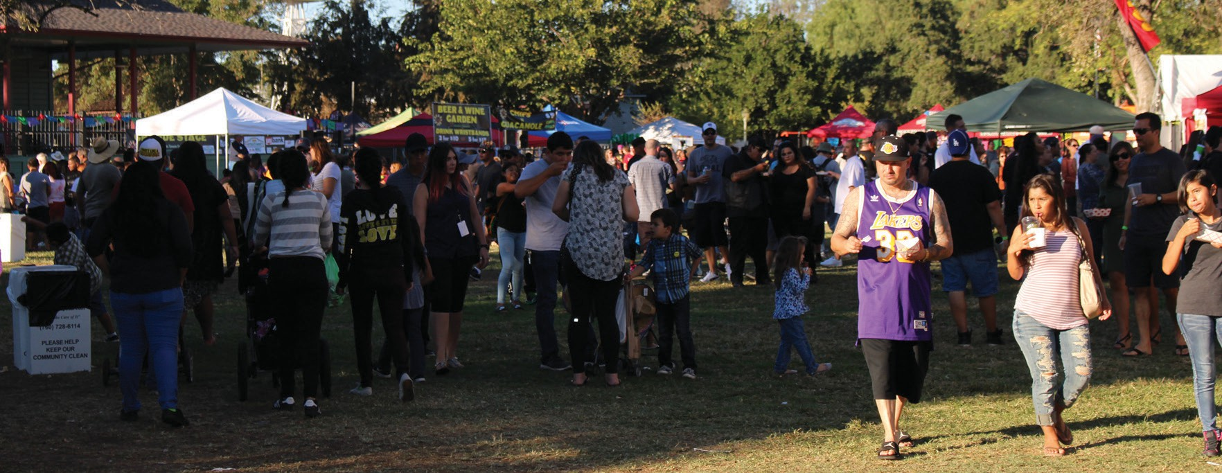 Festival goers stroll through the grounds as the afternoon sun casts shadows.