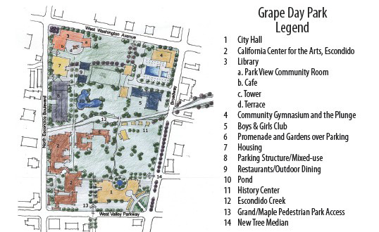 Concept of a possible Grape Day park expansion, including a new library. The map was created by architect Ken Erickson.