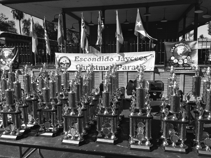 These trophies await the winners of Saturday's parade. There are trophies in 16 categories. Look for them after the parade at Grape Day Park.