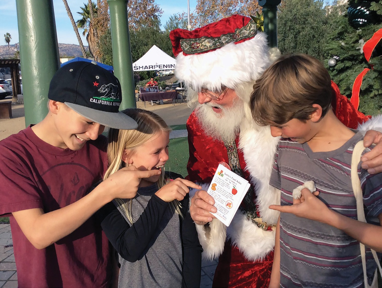 Two brothers and a sister demonstrate their knowledge of Santa's 3 Food Rules.