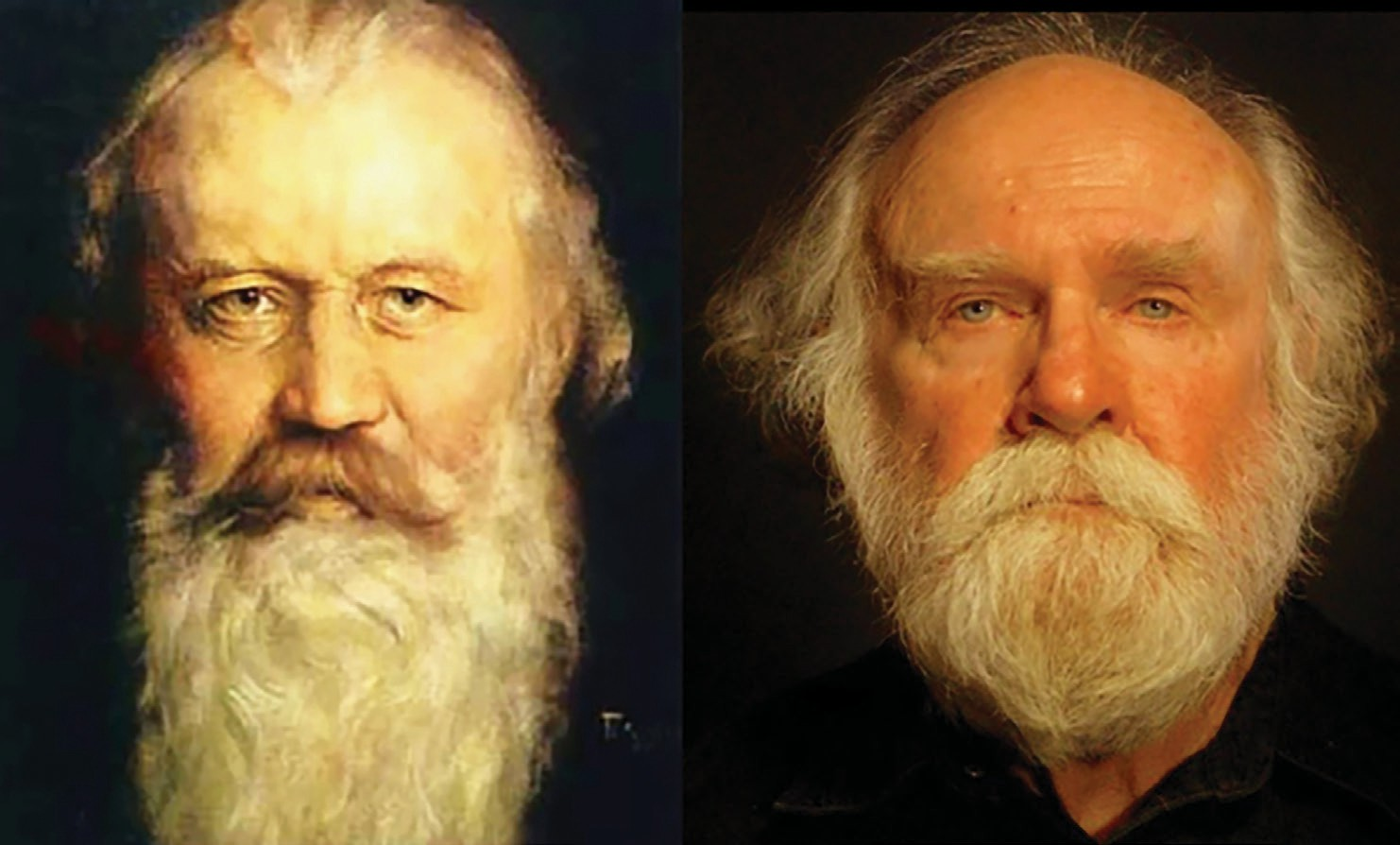 Which one of these men is Johannes Brahms? The other one is a local conductor who will be leading a performance of Brahms's famous German Requiem at California Center for the Arts, Escondido on January 29. The conductor has been an admirer of Brahms works for so long that maybe he begins to look like him?