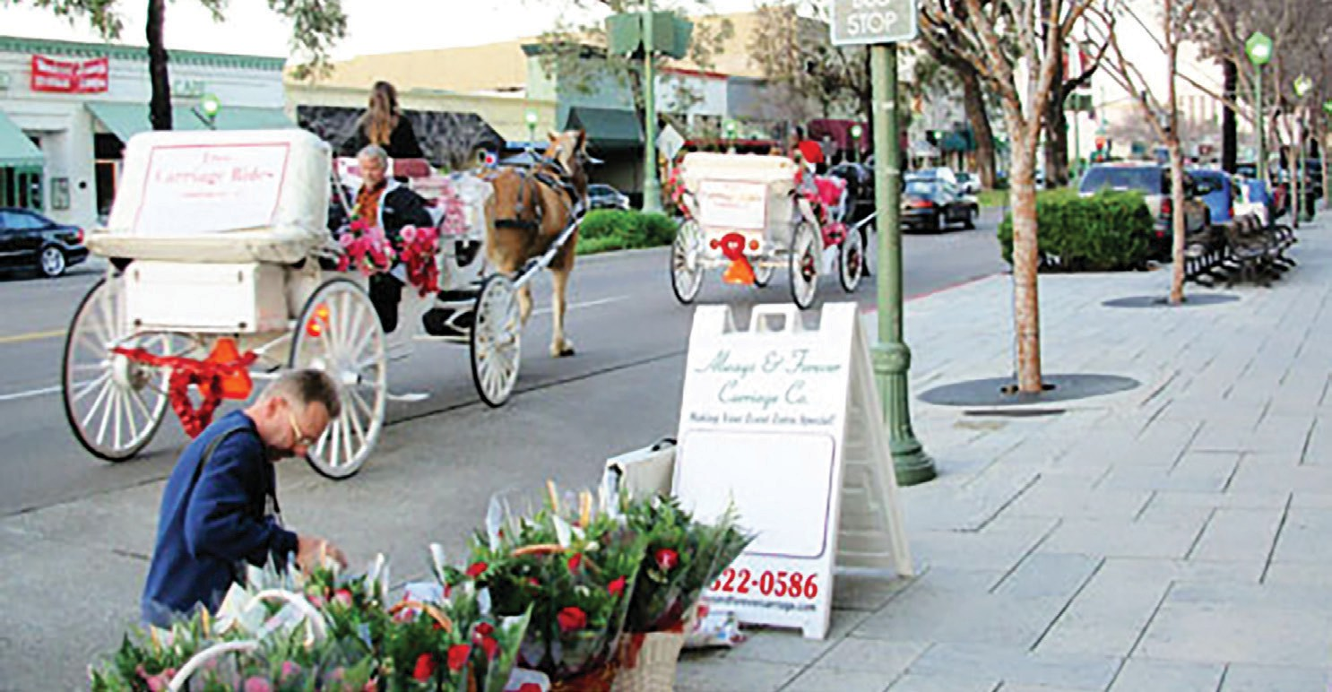 Carriages are part of the charm at the annual chocolate festival on Feb. 11.