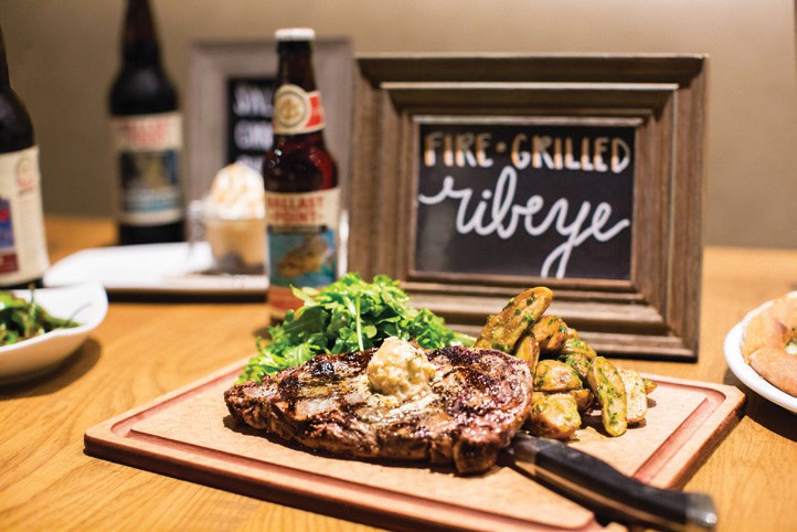 CPK's Fire-Grilled Ribeye with Pinot Noir sea salt and bleu cheese butter.