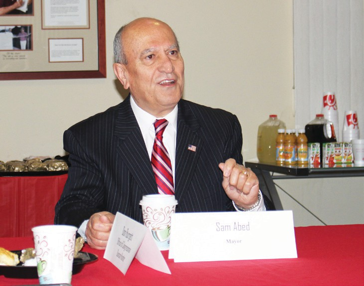 "Mayor Sam Abed gave a presentation with hints of his upcoming state-of-the city address at Tuesday's ""Breakfast with the mayor,"" at the Escondido Chamber of Commerce."