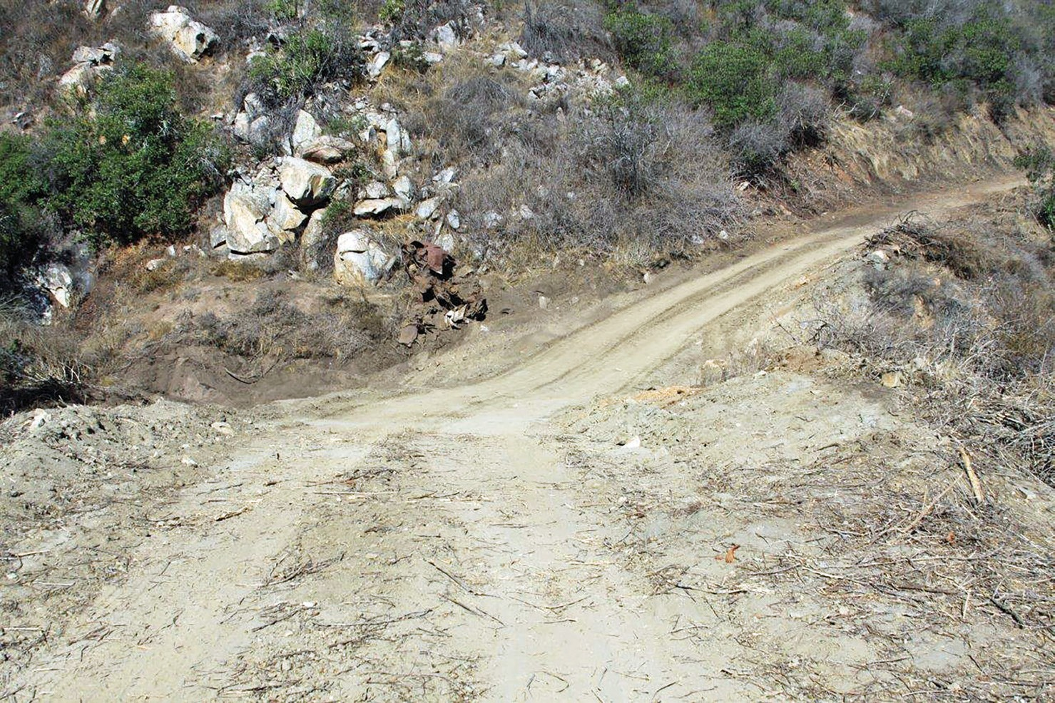 This ravine on Merriam Mountains is passable after CAL FIRE crews installed a culvert to bridge an impassable gap that forced emergency vehicles to take a detour during fires and emergency calls.