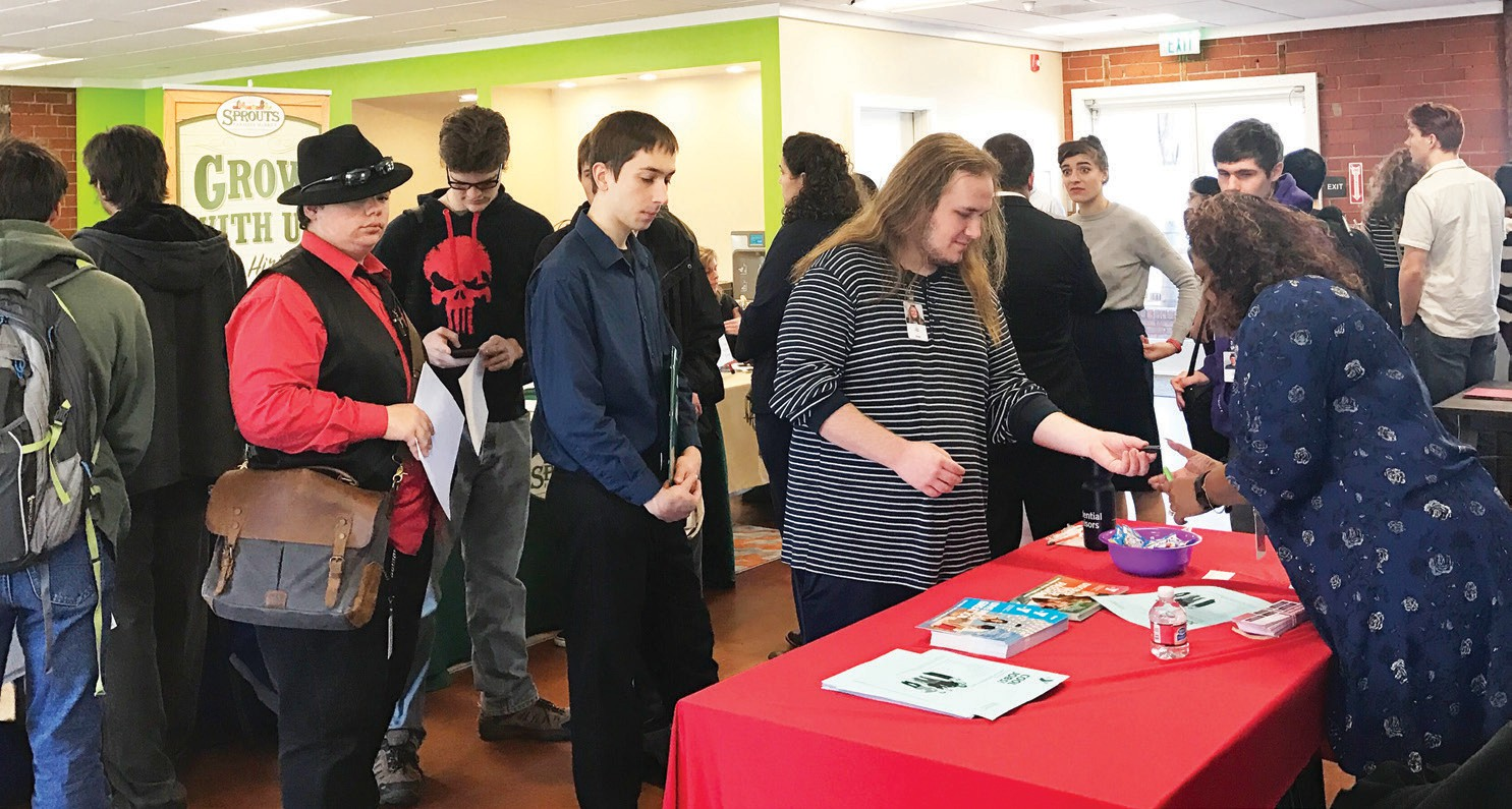 About 60 job seekers attended the event.